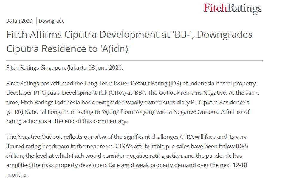 "Fitch Affirms Ciputra Development at ""BB-"". Downgrades Ciputra Residence to ""A(idn)"""